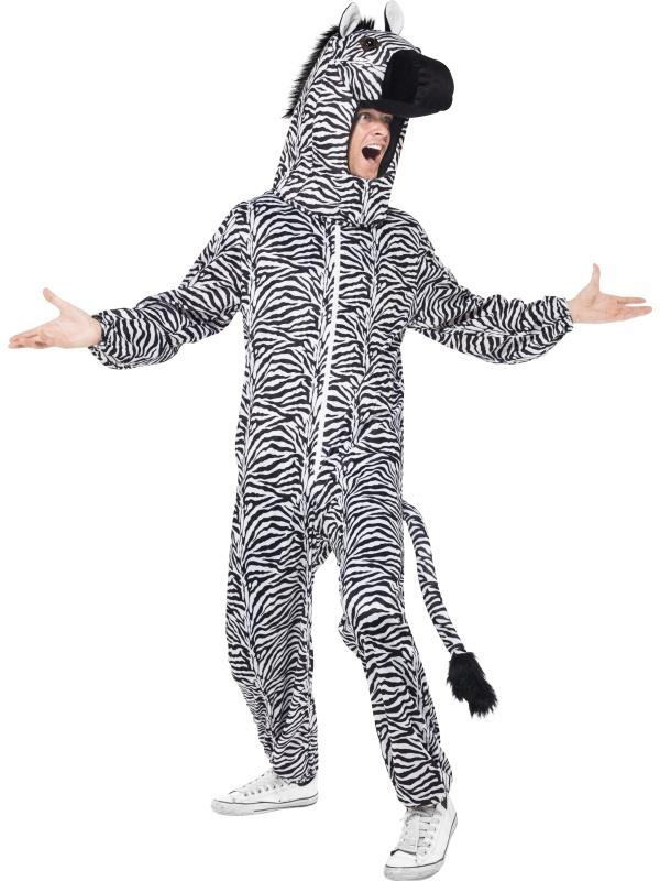 Zebra Heren Bodysuit Verkleedkleding