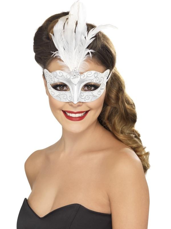 Wit met Zilver Venetiaans Oogmasker met Veer