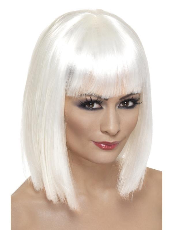 Witte Schouderlange Glam Pruik