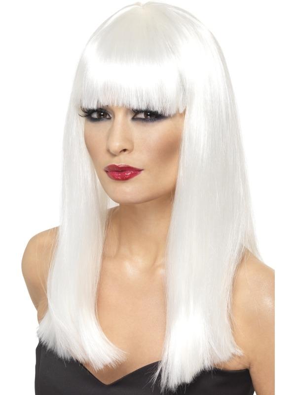 Witte Lange Glamourama Pruik