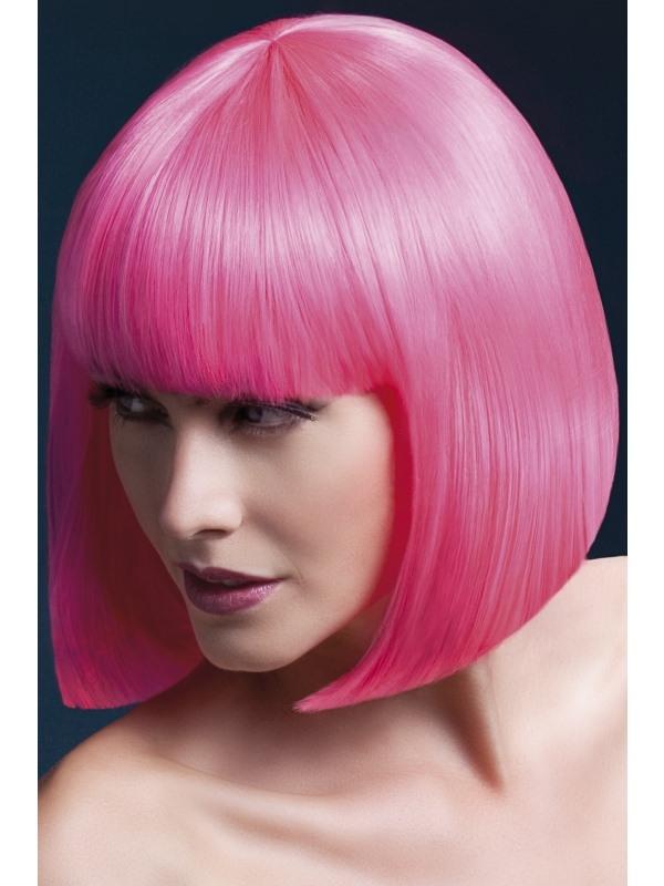 Neon Roze Elise Korte Bob Pruik