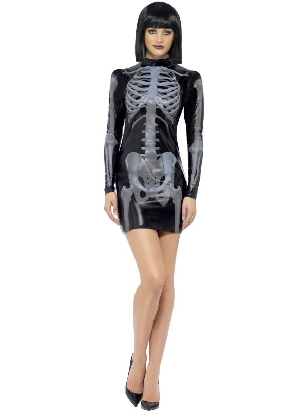 Fever Miss Whiplash Jurk Met Skeletten Print