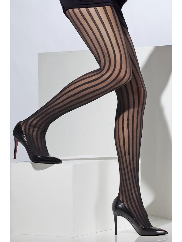Zwarte Panty met Verticale Strepen