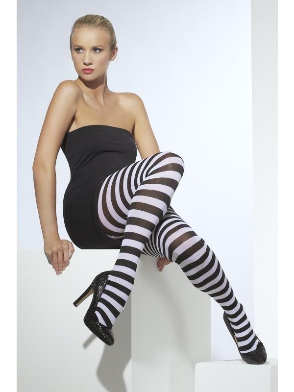 Wit - Zwart Gestreepte Panty