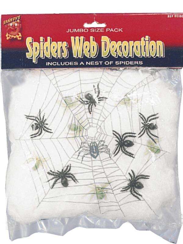 Wit Spinnenweb met 6 Spinnen Halloween Versiering