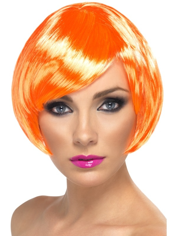 Neon Oranje Korte Bob Babe Pruik
