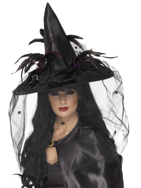 Deluxe Zwarte Heksenhoed met Veren en Sluier