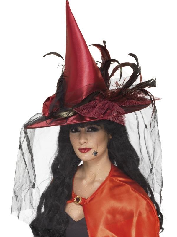 Deluxe Rode Heksenhoed met Veren en Sluier