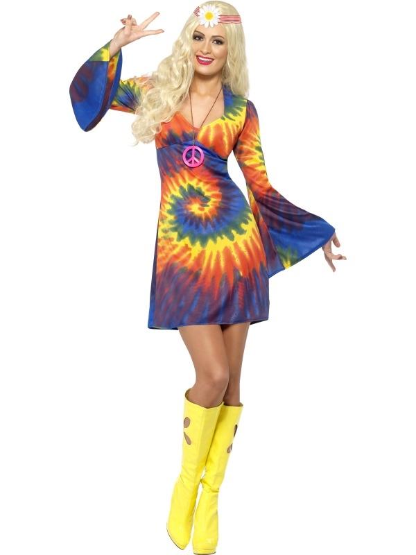 1960s Tie Dye Gekleurde Hippie Kostuum