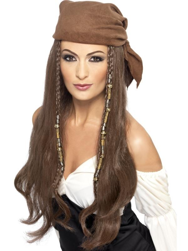Mooie Lange Piratenpruik met Bandana