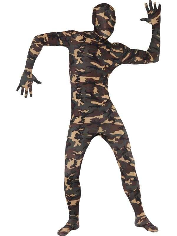 Second Skin Morph Suit Verkleedkleding Legerprint