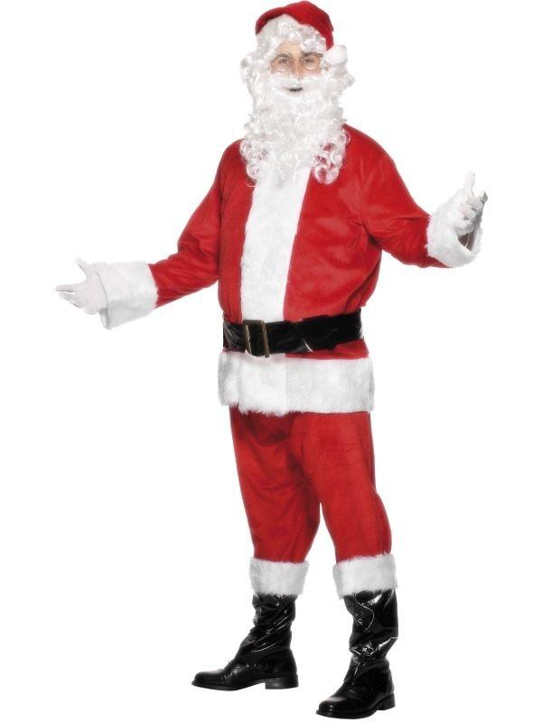 Velours Kerstman Kostuum 6-delig