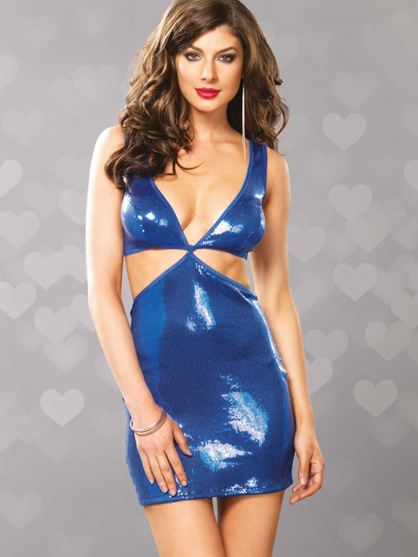 Sequin Mini Dress blauw