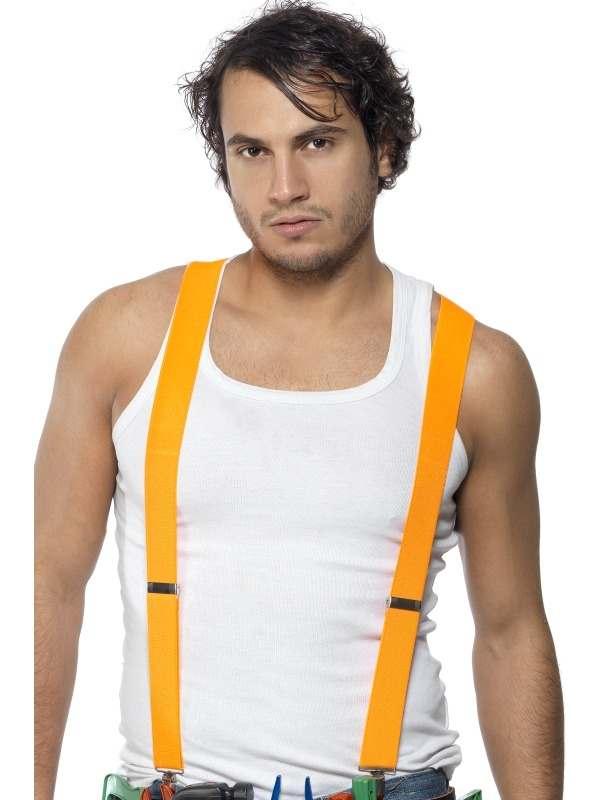 Neon Oranje Elastische Bretels