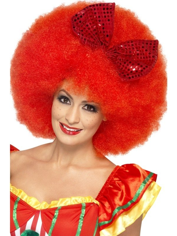 Mega Grote Rode Afro Clown Pruik