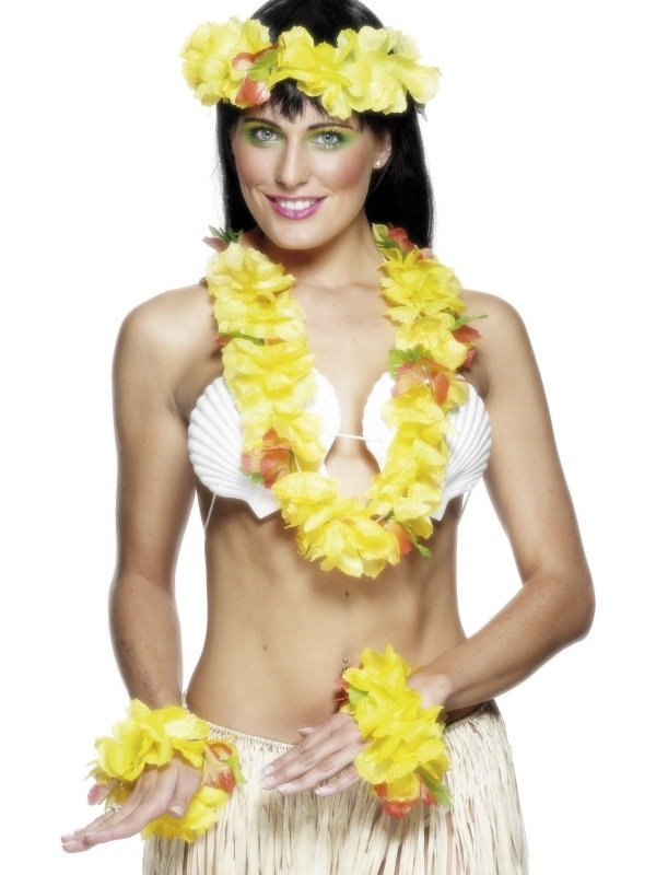 Hawaii Gele Zomer Bloemenkrans 4-Delig