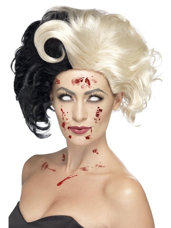 Zwart Witte Evil Madame Deluxe Pruik