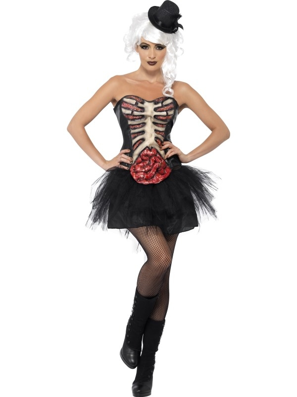Grillig Ribben Burlesque Corset Verkleedkleding Zwart