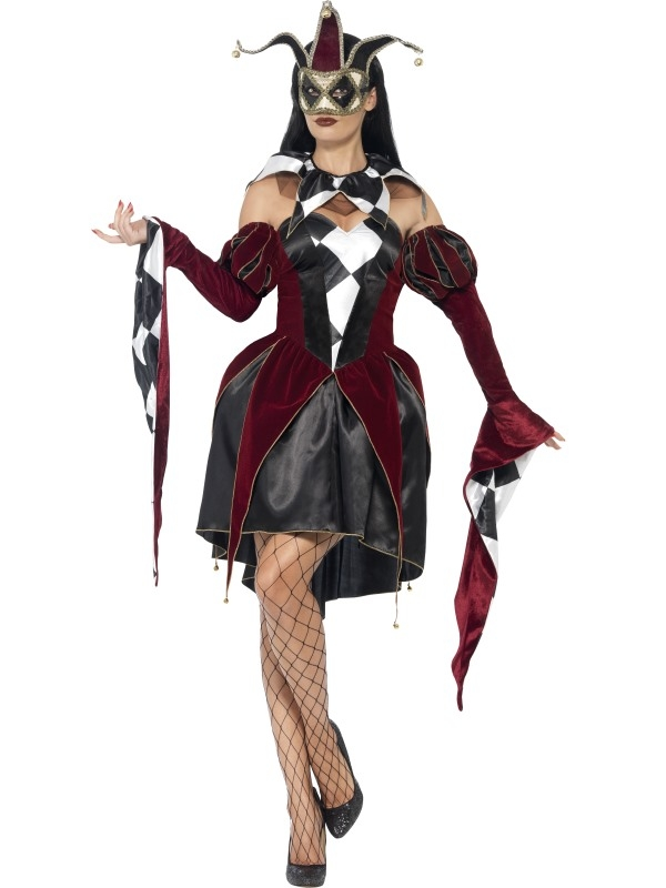 Gothic Venetian Harlequin Dames Halloween Kostuum