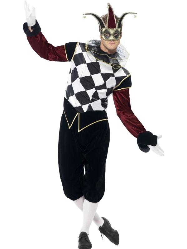 Gothic Venetian Harlequin Heren Halloween Kostuum