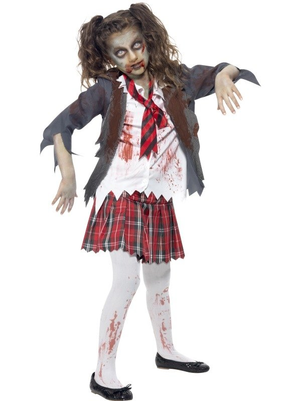 Zombie School Girl Halloween Kostuum Kids