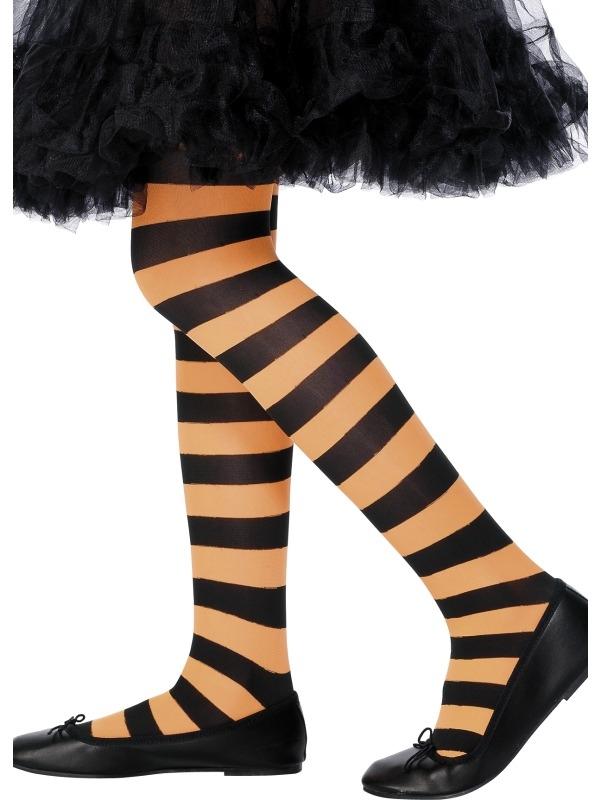 Oranje - Zwart Gestreepte Panty Kinderen