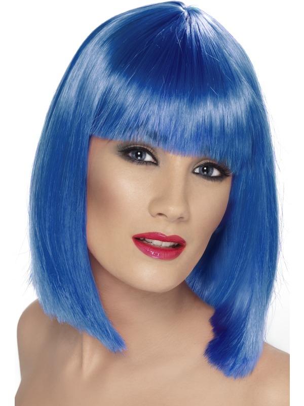 Neon Blauwe Schouderlange Glam Pruik