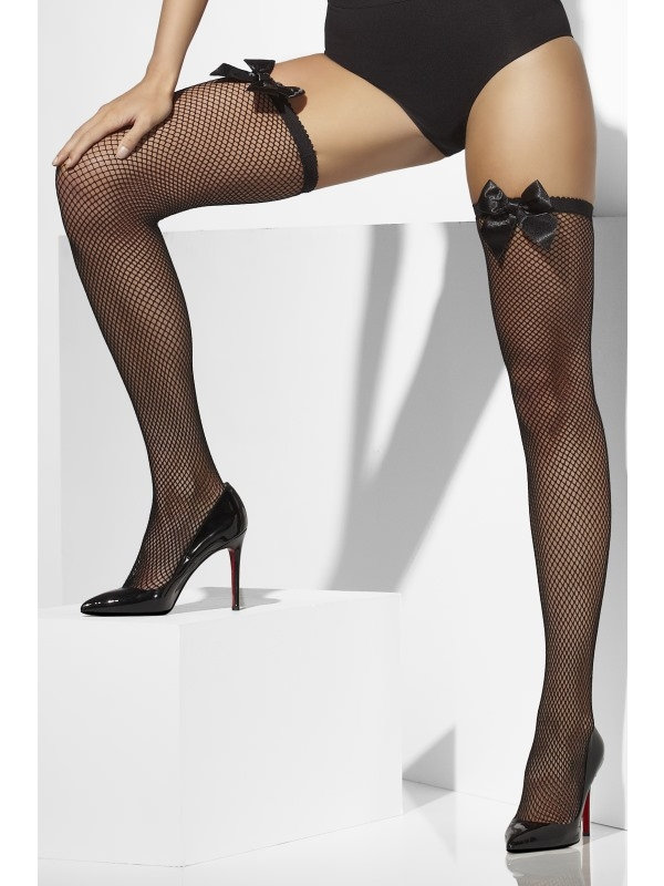Zwarte Fishnet Hold-Ups met Strik