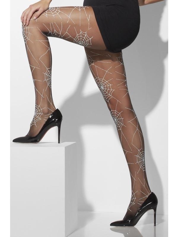 Zwarte Panty met Spinnenweb Print