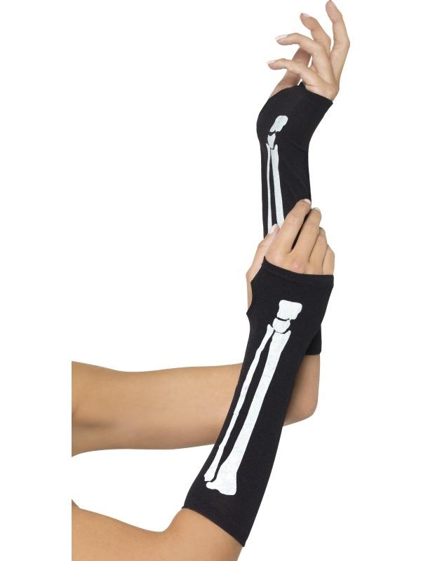 Zwarte Vingerloze Handschoenen met Skelet Print