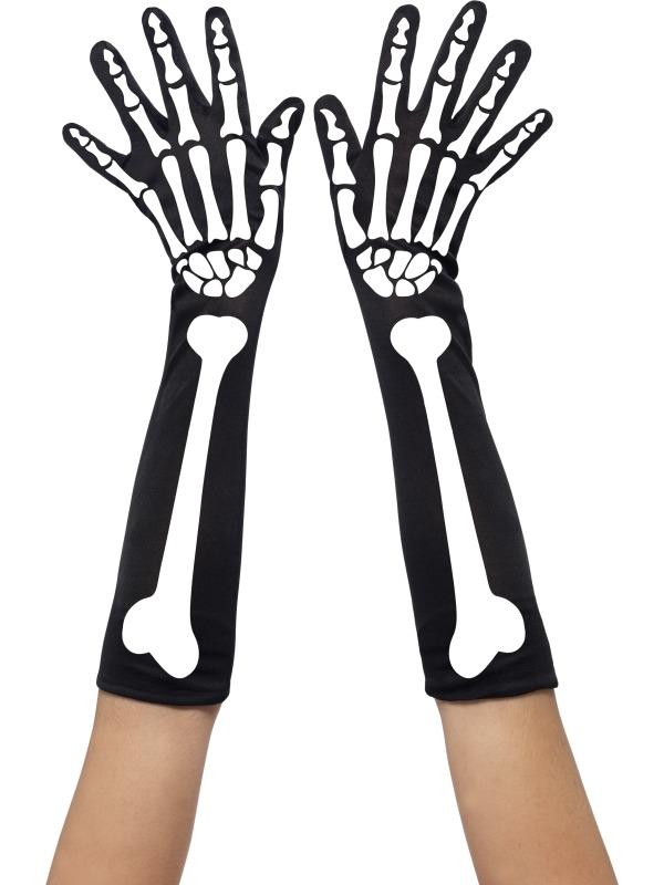 Zwarte Handschoenen met Skelet Print
