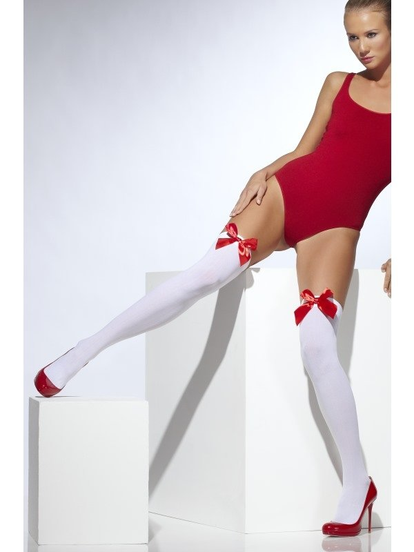 Witte Opaque Hold-Ups met Rode Strik