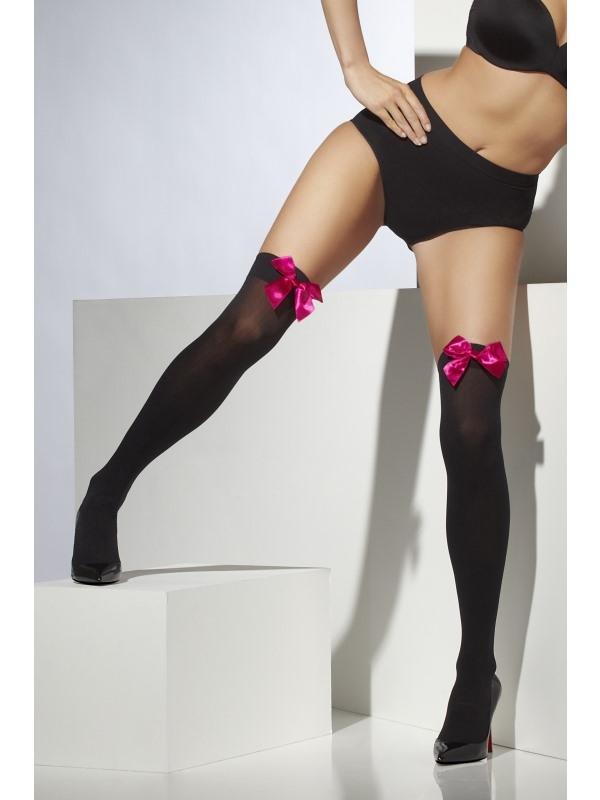 Zwarte Opaque Hold-Ups met Fuchsia Strik