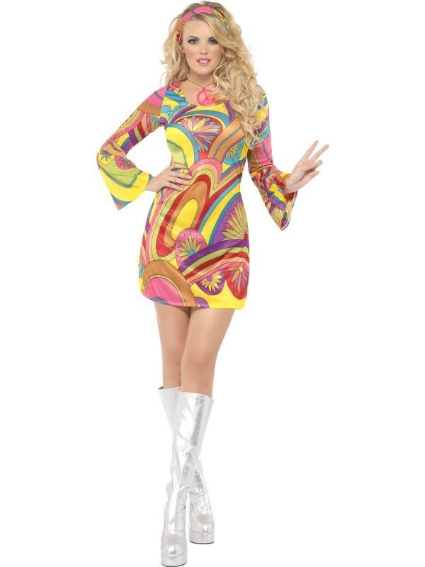 Fever 60's Flower Power Dames Kostuum