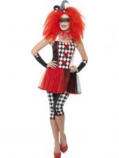 Gekke Twisted Harlekijn Clown Verkleedkleding