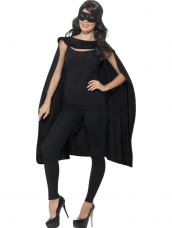 Zwarte Cape met Oogmasker Superheld