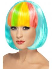 Aqua Korte Bob Pruik Kleurrijke Pony