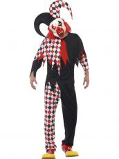 Gekke Crazed Jester Clown Horror Kostuum
