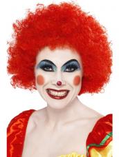 Rode Crazy Clown Pruik