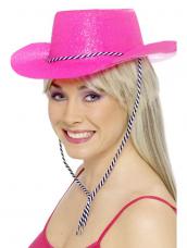 Roze Glitter Cowboy Cowgirl Hoed