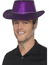 Paarse Glitter plastic cowboy cowgirl hoed