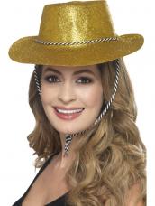 Gouden Glitter plastic cowboy cowgirl hoed