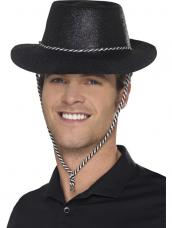 Zwarte Glitter plastic cowboy cowgirl hoed