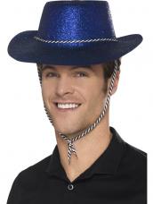 Blauwe Glitter plastic cowboy cowgirl hoed