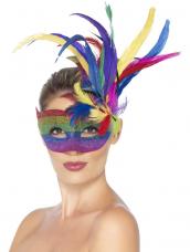 Carnival Regenboog Masker met Veren