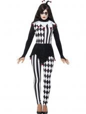 Dames Jester Clown Halloween Kostuum