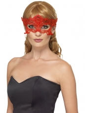 Embroidered Lace Filigree Heart Eyemask Rood