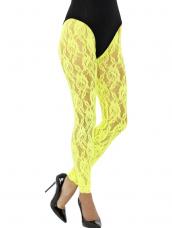 80s Lace Leggings Neon Geel