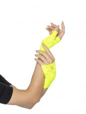 80s Fingerless Lace Gloves Neon Geel