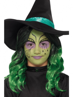 Kids Heksen Halloween Make Up Kit, Aqua, 3 Kleuren